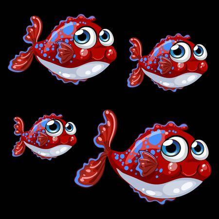 fish scales: Sweetheart vector vio peces t�midos sobre un fondo negro