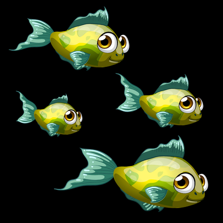 animal fauna: Green-yellow tropical fish, set of four icon cartoon vector