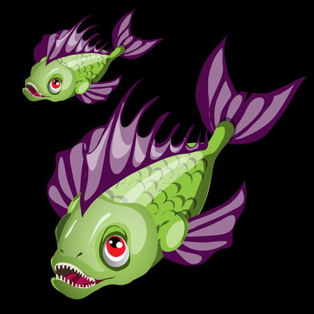 green fish: Predatory toothy green fish with purple fins, vector closeup