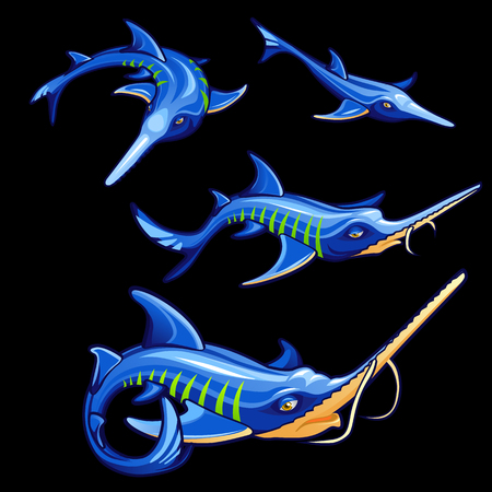 marline: Set of four blue swordfishes, cartoon vector characters