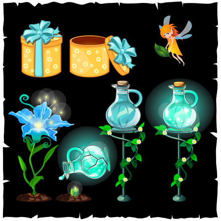 fey: Set of magical plants and magical potion flasks on black background Illustration