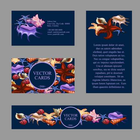 Four cards with images of starfish and seashells, and an exemplary text on a blue background