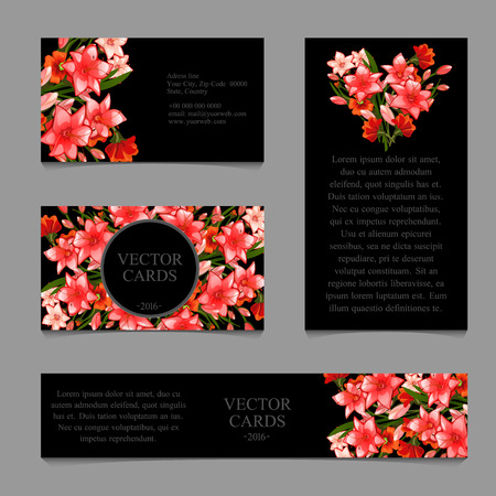 exemplary: Four cards with the texture of delicate pink lilies and an exemplary text on a black background Illustration