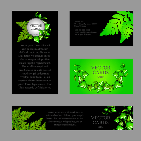 Four cards with the texture of green fern and an exemplary text on a black background