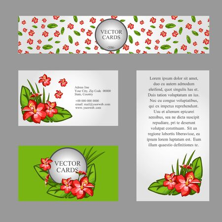 four texture: Four cards with the texture of lilies and sample text on white and green background