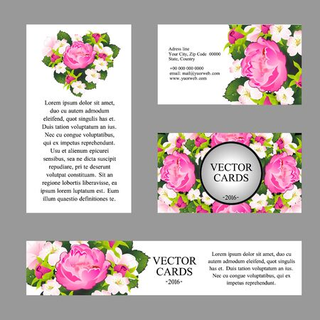Four cards with the texture of pink peonies and an exemplary text on a white background