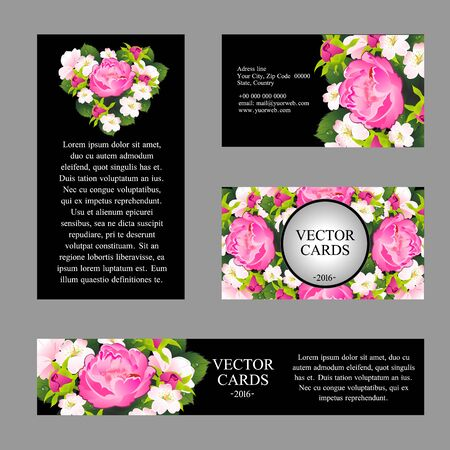Four cards with the texture of pink peonies and an exemplary text on a black background