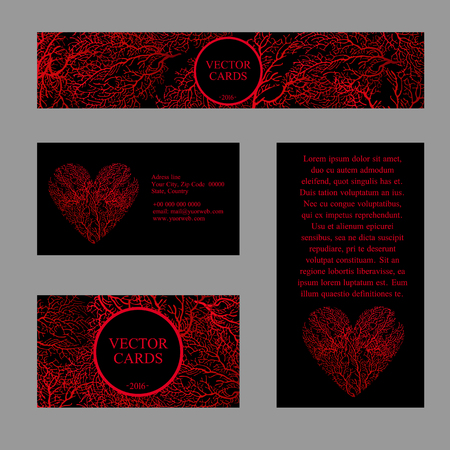 Four cards with the texture of red coral in the shape of a heart and an exemplary text on a black background