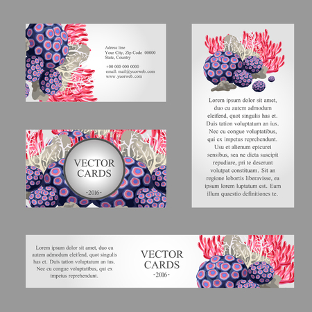exemplary: Four cards with the texture of sea life and an exemplary text on a light background