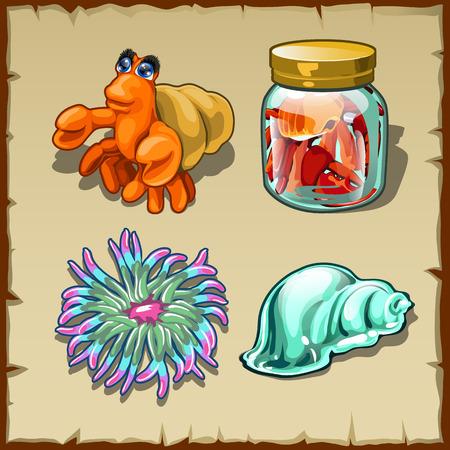 hermit: Funny marine inhabitants, set of four vector items