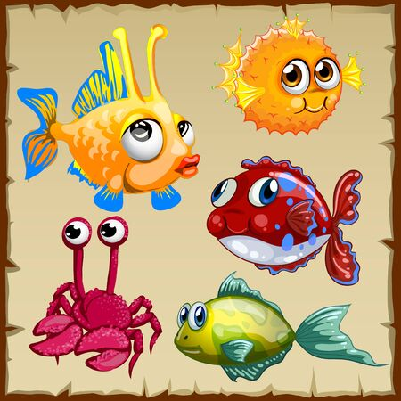 shell fish: Collection of exotic fish and crab, 5 vector icons