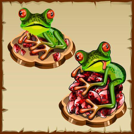 esoterismo: Imagen divertida del vector de la rana en un montón de piedras preciosas