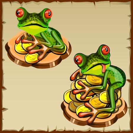 talismán: Dos rana divertida en una pila de monedas, el Feng Shui talismán