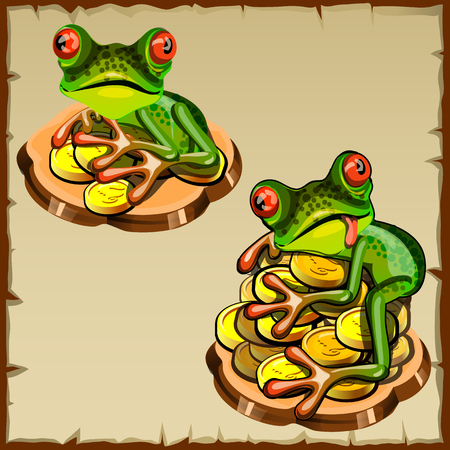 talisman: Two funny frog on a pile of coins, Feng Shui talisman