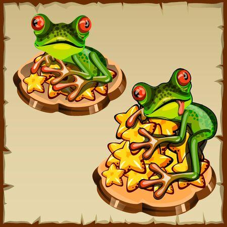 talisman: Dos rana sobre una pila de estrellas de oro, talismán Feng Shui