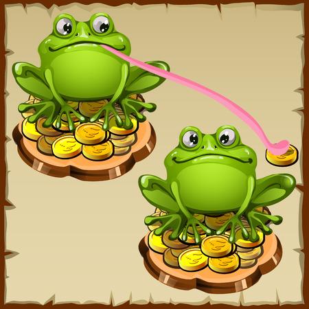 talisman: Dos estatua rana se sienta en las monedas, FengShui vector talism�n Vectores