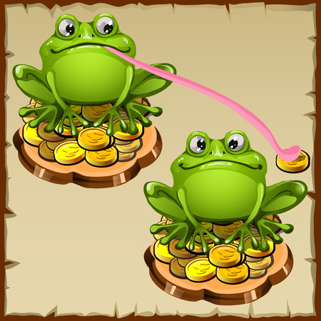 fengshui: Two statue frog sits on coins, FengShui vector talisman Illustration