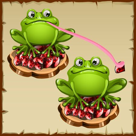 treefrog: Two Funny vector frog sits on precious stones, cartoon vector Illustration