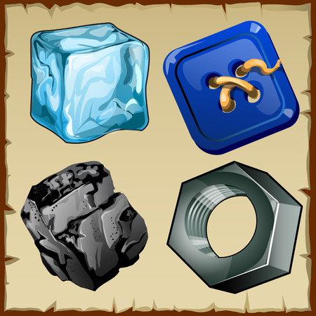 spare part: Set of four vector items, ice, buttons, coal and nut