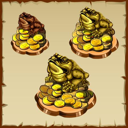 fengshui: Three frog figurines sitting on gold, FengShui talisman