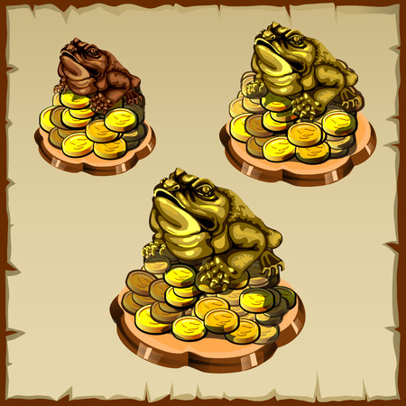 talisman: Tres figuras de rana sentada en oro, FengShui talismán