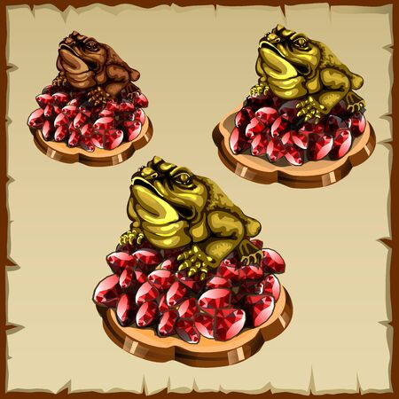 fengshui: Three frog figurines sitting on ruby, FengShui talisman