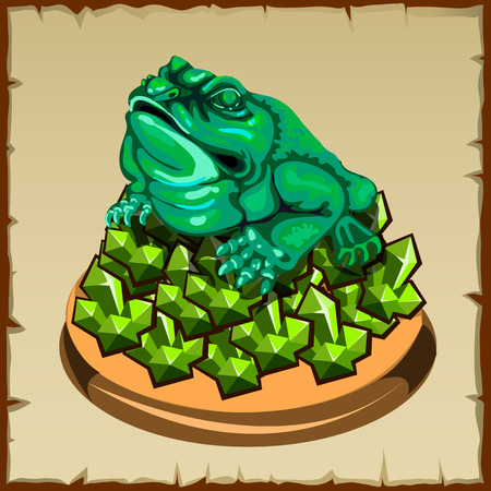 fengshui: One frog figurine sitting on emerald, FengShui talisman Illustration