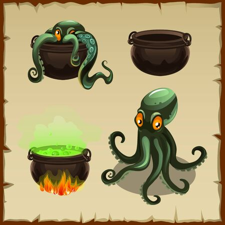 four objects: Objects of the boiler and octopus separately and scenes together with it, four icons