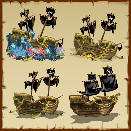 Pirate ship at different stages of desolation, four vector cartoon icons