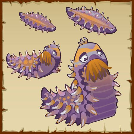 cartoon larva: Strange underwater creation like a caterpillar, five mutant items