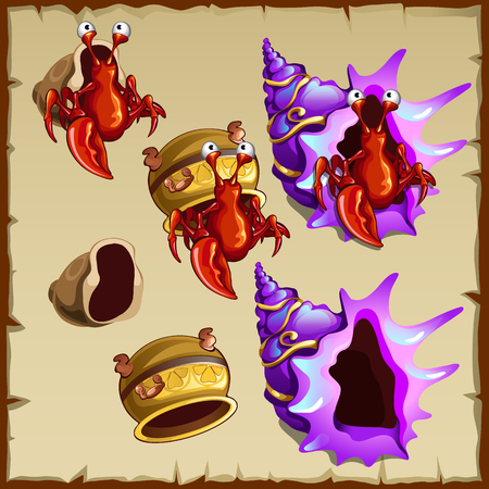 crab pot: Vector collection images of red crab, purple shell and pot