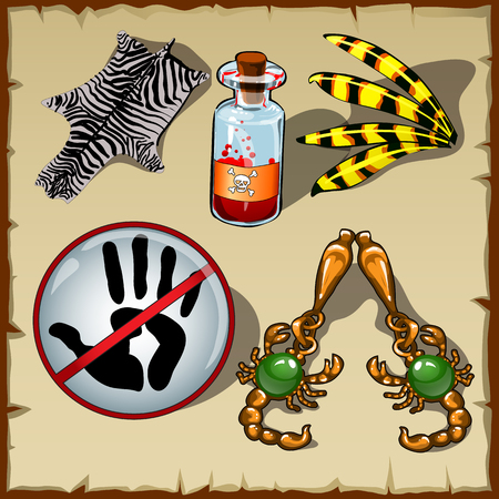 pelt: Vector Set of different objects, poison, skin, sign and other