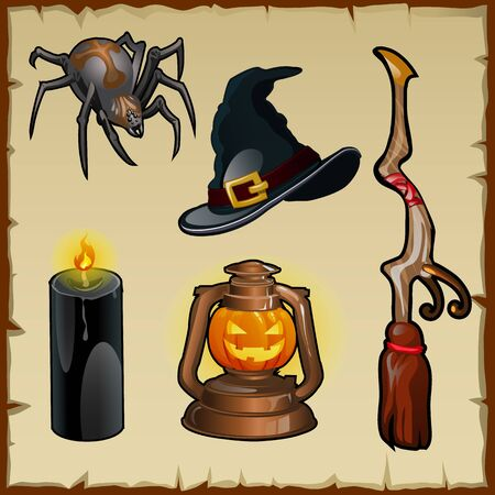 wicked set: Vector set of tools for witches, five magic items