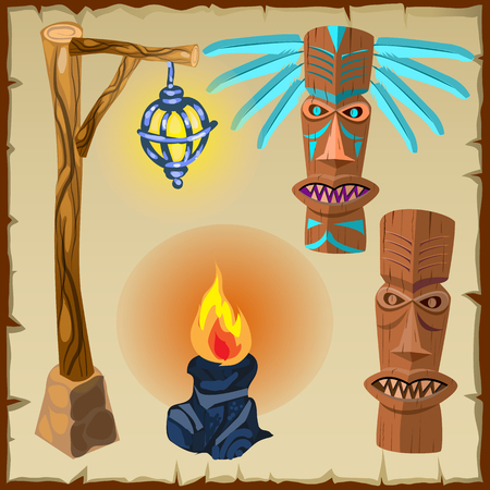 Two totems, fire and lantern, vector symbol of the ancient culture