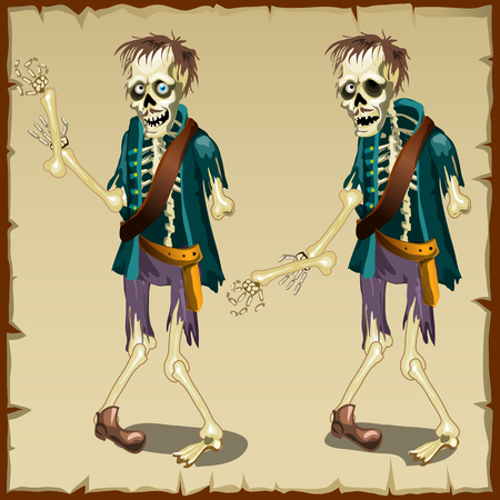 Zombie in two versions, vector cartoon character for animation