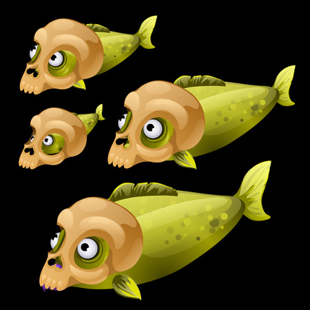 green fish: Set of four green fish with skull on a black background