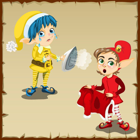 household chores: Two vector elf character for household chores Illustration