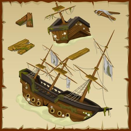 Relitto della nave antica e il suo relitto, insieme vettore, tre immagini Vettoriali