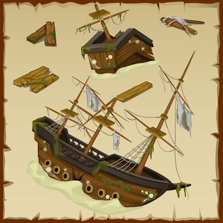 dilapidated: Wreck of the ancient ship and its wreckage, vector set, three image Illustration