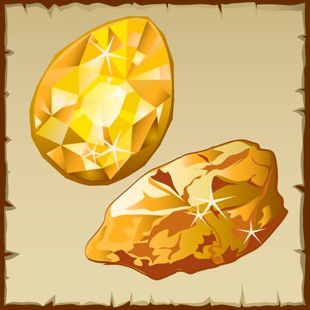 Raw gold and faceted gemstone, two vector icons