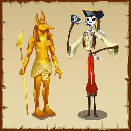 plunderer: Two ancient symbols, Golden figurine of Anubis and the skeleton of a pirate Illustration
