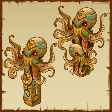 Two columns with octopus and ancient symbols, vector image Vettoriali