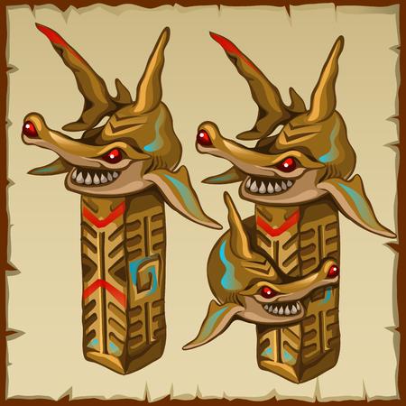 pez martillo: Dos columnas de martillo y los símbolos antiguos, con la imagen del vector Vectores