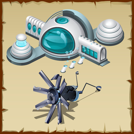 space station: Underwater research station, detail and robot, cartoon vector