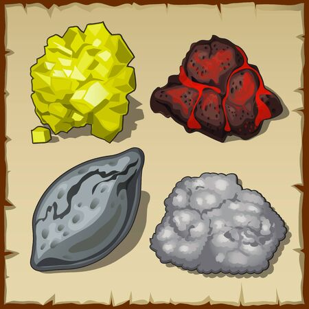 volcanic: Volcanic rocks and gems, set of four vector items