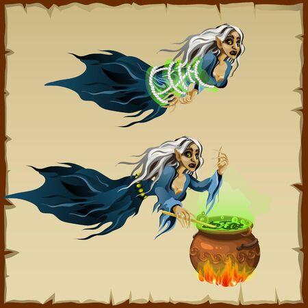 brandweer cartoon: Twee afbeeldingen van heksen, verbonden en koken toverdrank in de ketel Stock Illustratie