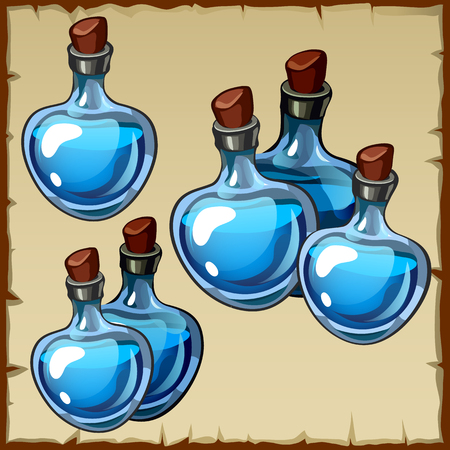 implements: Set of flasks with blue potion, cartoon image
