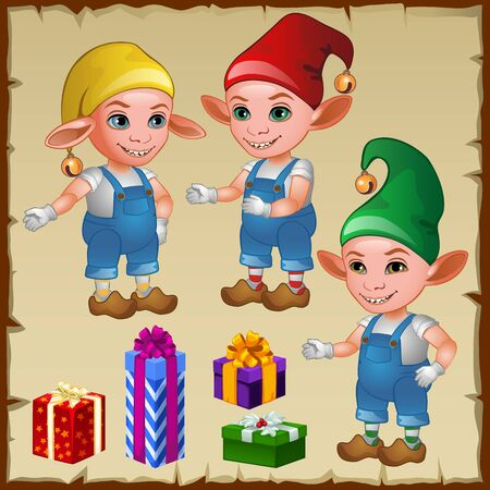dwarf costume: Three dwarf with gifts, cartoon vector characters