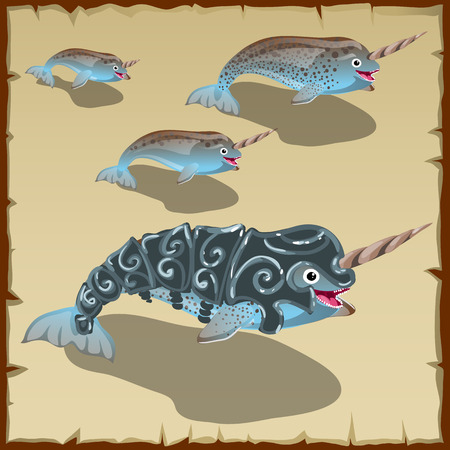 Set of young and adult gray cute fish with horn