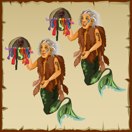 Two fish men with tail and deity, vector cartoon character Illustration